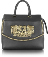 Roberto Cavalli Aphrodite Jewel Goldtone with Studs and Black Leather Tote
