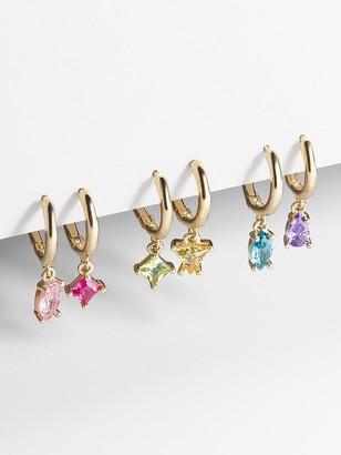 BaubleBar Sadye 18K Gold Vermeil Huggie Hoop Earring Set