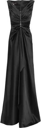 Talbot Runhof Embellished Ruched Satin Gown