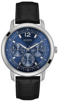 GUESS Stainless Steel and Croc-Leather Strap Chronograph Watch, U0790G2