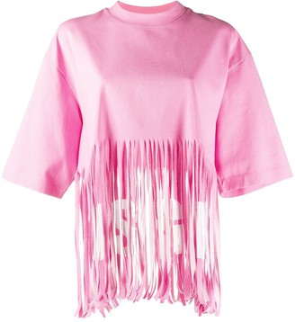 MSGM fringed oversized T-shirt
