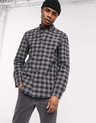 Fred Perry button down collar check shirt in grey