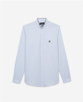 The Kooples Embroidered mens blue shirt w/officer collar