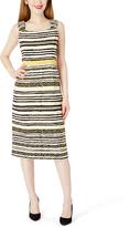 Gold Stripe Sheath Dress & Three-Quarter Sleeve Jacket - Plus Too