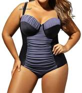 Eiffel Store Eiffel Women's Plus Size Color Block Ruched One Piece Swimsuit Bathing Suits Bikini