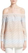 Lafayette 148 New York Women's Amy Stripe Cotton Off The Shoulder Blouse