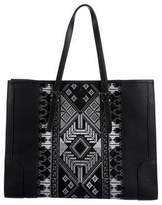 Barbara Bui Embroidered Panel Pebbled Leather Tote