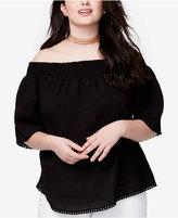 Rachel Roy Trendy Plus Size Off-The-Shoulder Fringe Top
