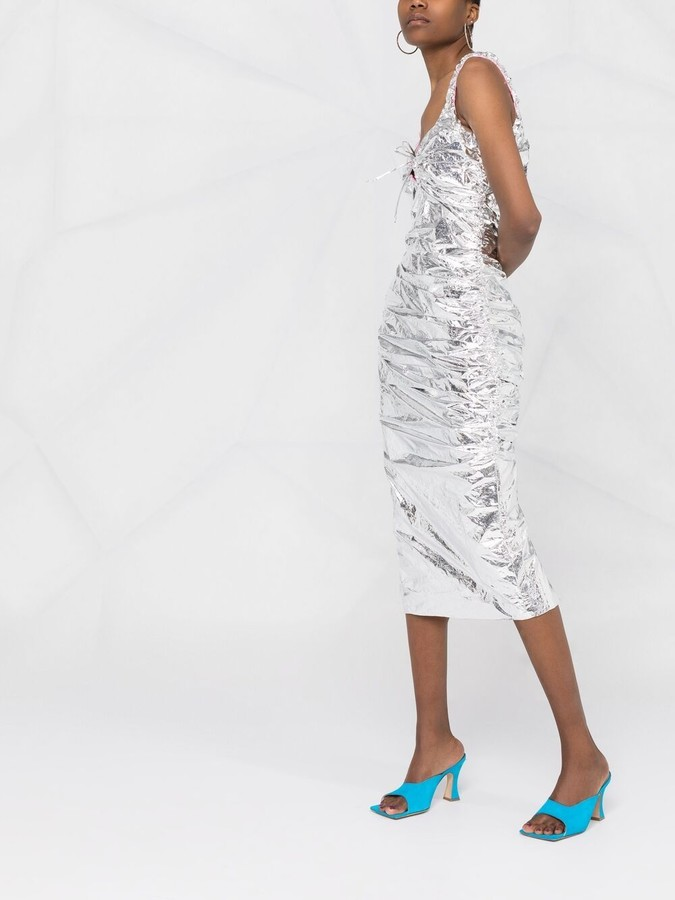 Thumbnail for your product : MAISIE WILEN Metallic-Effect Fitted Midi Dress