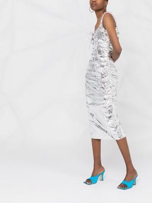MAISIE WILEN Metallic-Effect Fitted Midi Dress