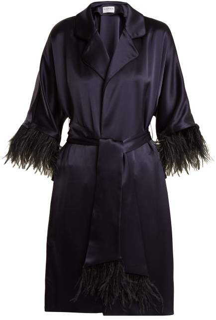 Osman Eve Feather Trimmed Satin Coat - Womens - Navy