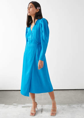 And other stories Dotted Jacquard Midi Wrap Dress