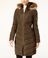 Calvin Klein Faux-Fur-Trim Chevron Water-Resistant Down Puffer Coat