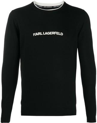 Karl Lagerfeld Paris Logo Print Fine Knit Jumper