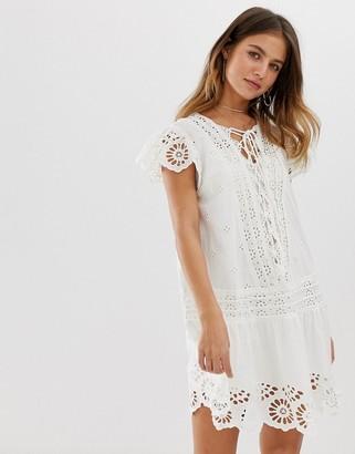 Free People Esperanza anglaise lace tunic dress-White