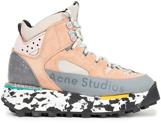 Acne Studios Logo-print Suede, Leather And Mesh Sneakers