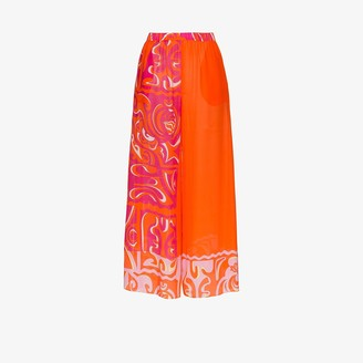 Emilio Pucci Tiki print wide leg beach trousers