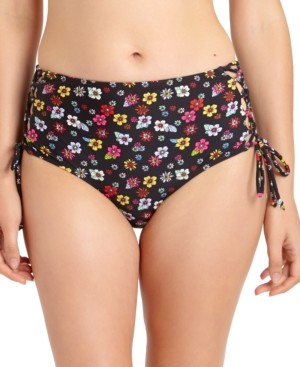 California Waves Juniors' Floral Strappy High-Waist Bikini Bottoms, Created for Macy's Women's Swimsuit