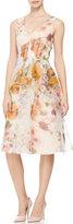 Lela Rose V-Neck Floral-Print Dress