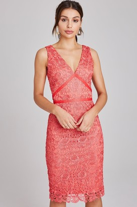 Paper Dolls Colbert Coral Crochet Lace Dress