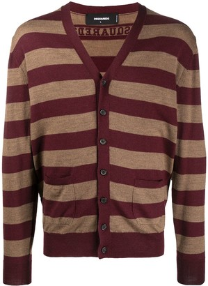 DSQUARED2 Virgin Wool Striped Knit Cardigan