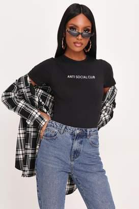 I SAW IT FIRST Black Anti Social Slogan Short Sleeve Cotton Bodysuit