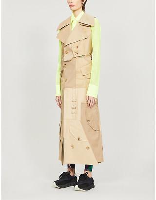 Junya Watanabe Patchwork asymmetric-hem cotton-blend trench coat
