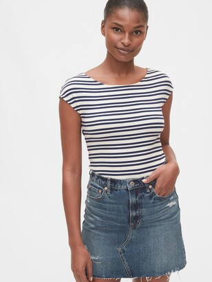 Gap Modern Boatneck Striped Short Sleeve T-Shirt