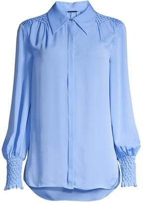 Elie Tahari Shayna Smocked Silk Shirt