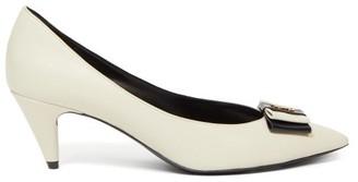 Saint Laurent Anais bow Leather Pumps - Cream