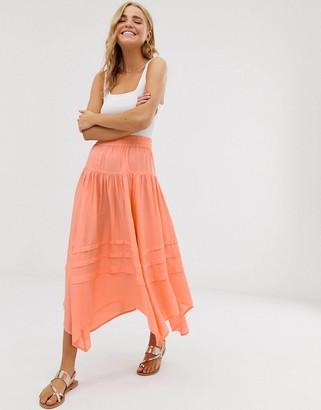 Asos DESIGN asymmetric pirate high low city maxi skirt