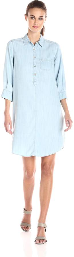 Foxcroft Women's 3/4 Sleeve Solid Denim Tencel Dress