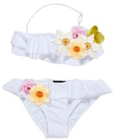 Stella Cove Girl's 3D Floral Two-Piece Swimsuit