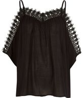 River Island Womens Black trim cold shoulder top
