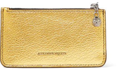 Alexander McQueen Metallic Textured-leather Cardholder - Gold