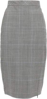 Theory Checked Stretch-wool Pencil Skirt