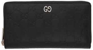 Gucci Black GG Print Signature Zip Wallet