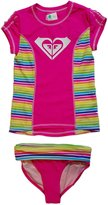 Roxy Big Girls Rash Guard Set (, Stripe)