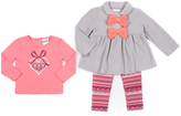 Little Lass Heather Gray Bow Fleece Jacket Set - Infant