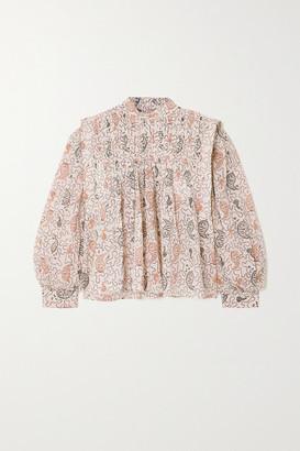 Etoile Isabel Marant Vega Pleated Paisley-print Cotton-voile Blouse
