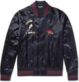 Valentino Embellished Satin Bomber Jacket - Navy