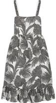 Co Ruffled Metallic Jacquard Dress