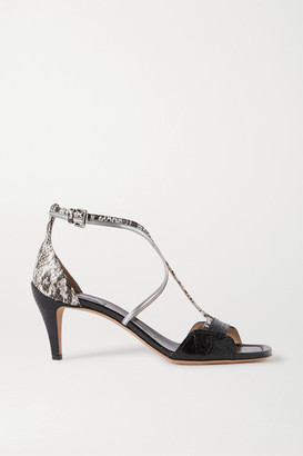 Chloé Carla Snake- And Croc-effect Leather Sandals - Black