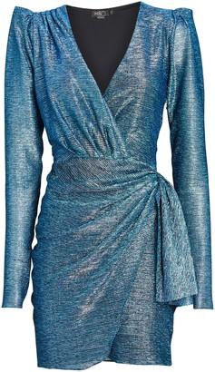 PatBO Metallic Mini Wrap Dress