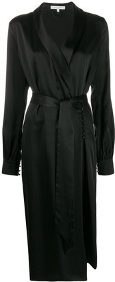 LA COLLECTION Silk Belted Shirt Dress