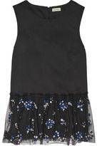 Suno Embellished Mesh-Trimmed Cotton-Poplin Top