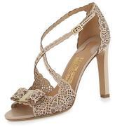 Salvatore Ferragamo Gabrielle Laser-Cut Leather Sandal, Macadamia