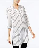 Bar III Striped Roll-Tab Tunic, Only at Macy's