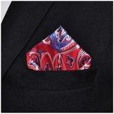 S&W Manufacturing Mens Red Crimson Blue Jacquard Woven Handkerchief Pocket Square
