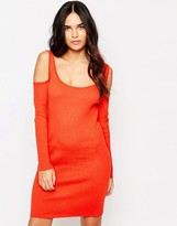 Girls On Film Colour Ribbed Jumper Bodycon Dress